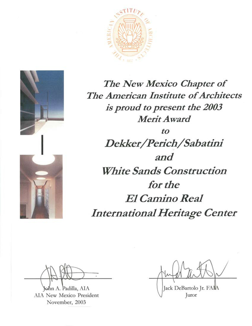 Award for El Camino Real International Center